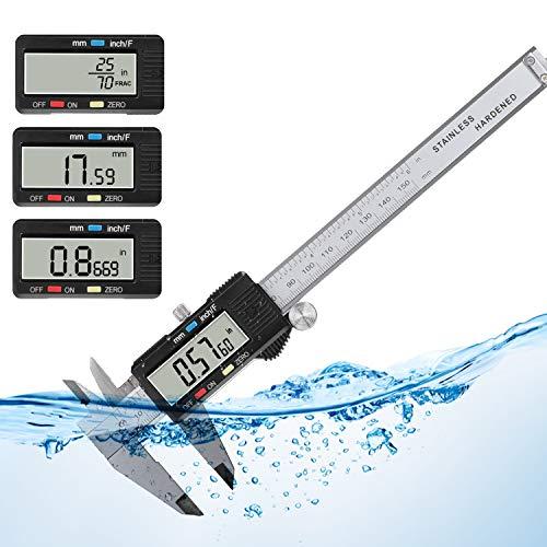 POWERAXIS Digital Messschieber, Edelstahl Schieblehre 150 mm/6 Zoll mit Großem LCD-Display, Spritzwasserdicht Meßschieber, Messwerkzeug Mikrometer Genauigkeit 0,01 mm für Außen-, Innen- und Tiefenmaß