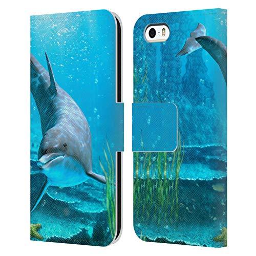 Head Case Designs Licenza Ufficiale Simone Gatterwe Cercando La Stella Marina Delfini Cover in Pelle a Portafoglio Compatibile con Apple iPhone 5 / iPhone 5s / iPhone SE 2016