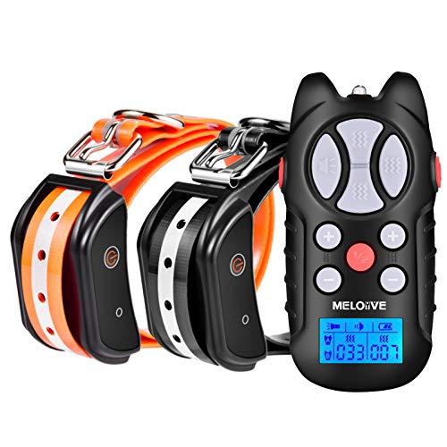 Meloive Collar Recargable de Adiestramiento Dos Perros, 1000m de Alcance a Distancia con Modos de Vibración, Sonido y Luz, Collar Resistente al Agua IPX67 con Bloqueo de Seguridad del Teclado.