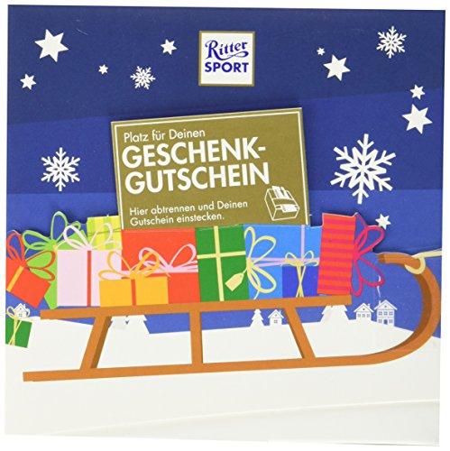 RITTER SPORT Gutschein Geschenk (5 x 163 g), kreative Verpackung für Gutscheine, mit Schokolade befüllt, Geldgeschenke für Männer und Frauen, zu Weihnachten