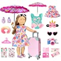 18 inch American Doll Clothes and Accessories - Doll Travel Suitcase Play Set Including Luggage, 2 Sets of Doll Clothes and Shoes, Umbrella Sunglasses Camera Travel Pillow Blindfold Passport Tickets by WONDOLL