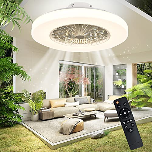 IYUNXI Modern Ceiling Fan with Lights, Flush Mount, Remote Control LED Dimming 3 Colors Lighting, Low Profile Ceiling Fan 23 Inch,72W Enclosed, Kitchen, Bedroom, Children's Room