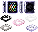 5 Pack by Tech Express for Apple iWatch Black + Pink, Clear, Gray, Purple Liquid Air Bumper [Watch Gel Cover] Skin Protective Case Shockproof Ultra Rugged Series 1, 2, 3 & 4 Accessories (44mm Clear)