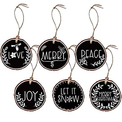 JKMEOO 6pcs Wooden Christmas Ornaments Wood Slices with Hemp Rope,Painted Black Love,Merry,Peace,Joy,Let it Snow,Merry Christmas Inspired Rustic Wood Tree Bark Christmas Tree Ornament.