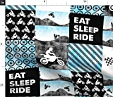 Spoonflower Fabric - Motocross Patchwork Eat Sleep Bright Blue Dirt Bike Little Arrow Baby Printed on Minky Fabric by The Yard - Sewing Baby Blankets Quilt Backing Plush Toys