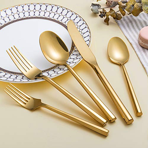 Kelenfer Flatware Cutlery Set Shiny Gold with Hexagon Handle Forged Stainless Steel