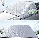 helloleiboo Car Windshield Snow Cover Ice Cover with 4 Layers Protection, Waterproof Sunshade Universal Fit Most Car, SUV, Truck, Van