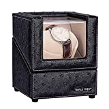 Single Watch Winder Newly Upgraded, with Flexible Plush Pillow, in Wood Shell and Black Leather,...