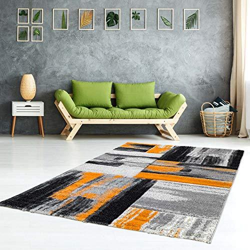carpet city Teppich Modern Flachflor Konturenschnitt Handcarving Meliert, Streifen in Orange Grau für Wohnzimmer, Größe: 120x170 cm
