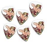 50s Pin Up Girl Flower In Hair 6 X Logo Guitarra Picks (GD)...