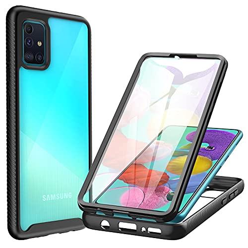 CENHUFO Samsung Galaxy A71 Hülle, Stoßfest Transparent Hülle 360 Grad Cover R&umschutz mit Eingebautem Bildschirmschutz Robust Bumper Hülle Schutzhülle Handyhülle für Samsung Galaxy A71 4G (Schwarz)