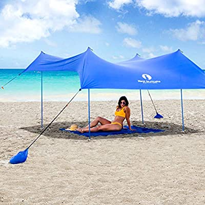 Red Suricata Family Beach Sunshade - Sun Shade Canopy | UPF50 UV Protection | Tent with 4 Aluminum Poles, 4 Pole Anchors, 4 Sandbag Anchors | Large & Portable Shelter Tarp (Blue, Large)