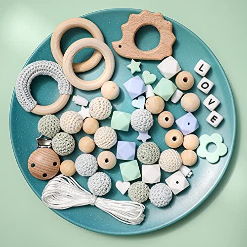 Mamimami Home DIY Bebé Juguetes de dentición Silicona Collar de enfermería Cuentas de ganchillo Pulsera Erizo de madera Pinzas para chupete Perlas masticables