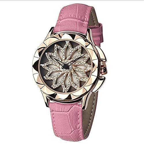 Reloj De Mujer Cinturón De Cuero Impermeable Mecánico Automático Movimiento De Cuarzo De Rotación Tachonado De Diamantes Espejo De Vidrio Reforzado con Minerales Relojes De Pulsera para Mujeres