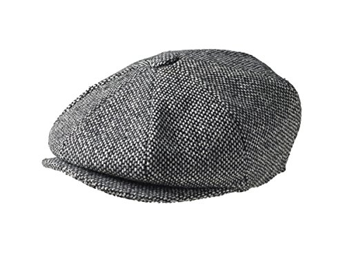 Peaky Blinders Cap - 1 Stück - Jungen - Zeitungsverteiler, Gr.- XL, Black Bird''s Eye Tweed