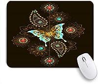 NIESIKKLAマウスパッド 貴重なターコイズブルーの蝶の動物豪華な宝石の色を抽象化します ゲーミング オフィス最適 高級感 おしゃれ 防水 耐久性が良い 滑り止めゴム底 ゲーミングなど適用 用ノートブックコンピュータマウスマット