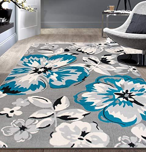 Modern floral area rug