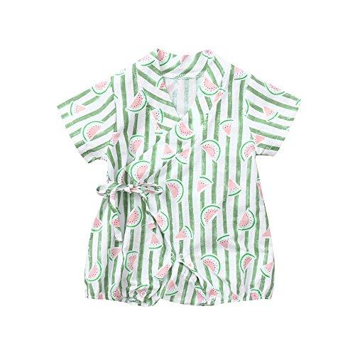 Jimmackey Bambino Unisex Frutta Pagliaccetto Striscia Stampa Anguria Corto Body Tute Neonato Kimono Vestiti (Verde, 9 Mesi)