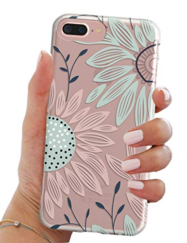 iPhone 7 Plus Case,iPhone 8 Plus Case,Elegant Floral Flower Bloom Clear Anti Scratch Drop Resistant Bumper Case Cover for Apple iPhone 7/8 Plus (5.5')