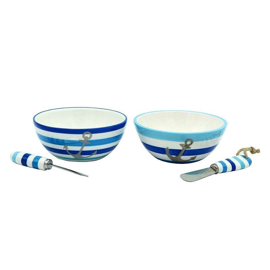 DEI 11580 Bowl Dip Bowl & Spreader Set, 5.75 x 5.75 x 3.0, Blue/White