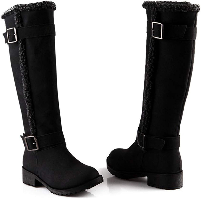 FMWLST Stiefel Winter Damen Stiefel Kniehohe Stiefel Mit Runden Stiefeln