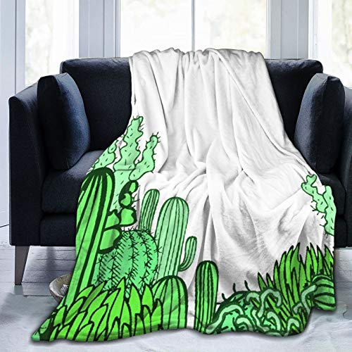 Alvaradod Manta de Tiro Personalizada,Colección De Los Doodles Cactus México Fondo,Manta de Felpa Suave para sofá,Dormitorio,Viaje,Manta mullida 40'X50'