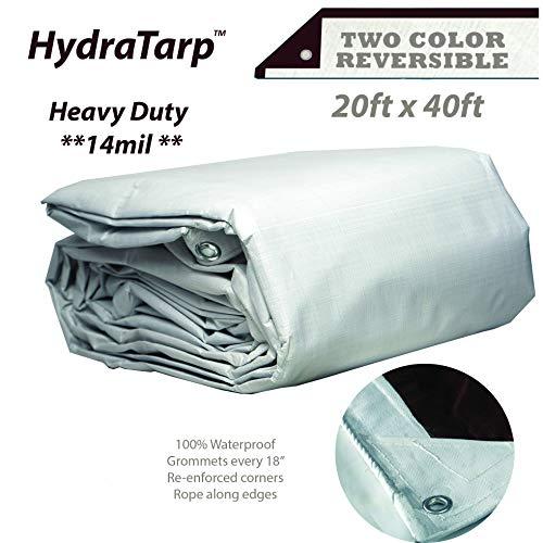 HydraTarp 20ft X 40ft Heavy Duty Waterproof Tarp - 14mil Thick - White/Brown Reversible Tarp
