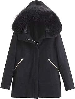 Comaba Women Faux Fur Collar Full Zip Thickening Hooded Duffle Coat