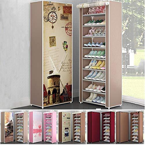 Almacenamiento de tela no tejida para zapatos de varias capas O F¨¢cil de instalar Soportes para gabinetes de zapatos Ahorro de espacio-violeta