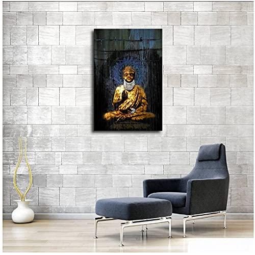 Art Deco Modern Golden Buddha Statue Art Graffiti Moderno Copa de Vino impresión de la Lona Pintura de la Pared Imagen para la decoración del hogar de la Sala de Estar -40x63cm2pcs Sin Marco
