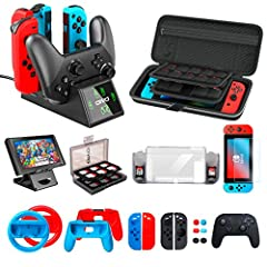🎁【All in 1 Bundle Accessories Kit for Nintendo Switch】 - Charging dock + Carry case + Playstand + Case cover + Screen protector glass + Games Case + Joycon cover + Joycon grips + Joycon steeling wheel + thumb caps.(Note: The joy-cons and pro controll...