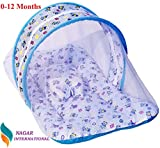 Nagar International Baby Luxury and Bassinet and Cradle Bedding Set with Mosquito Net in Cotton Fabric (ABCD Blue, 0-12 Months)