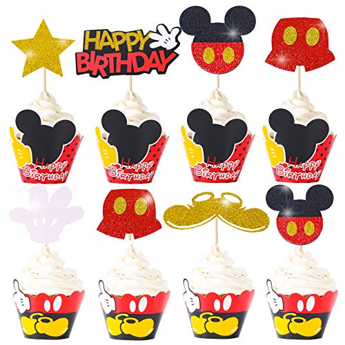 Mickey Mouse Cupcake Cake Toppers Wrappers Mickey Decoración para Baby Shower Mickey Clubhouse Kids Happy Birthday Supplies 24PCS Mickey Topper y 24PCS Mickey Wrappers Rojo y Amarillo Fiesta Temática