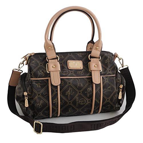 Damentasche von Giulia Pieralli - Damen GlamourHandtasche Handbag Tasche Henkeltasche Bowling Tasche Umhängetasche (Coffee-Beige) präsentiert von ZMOKA®