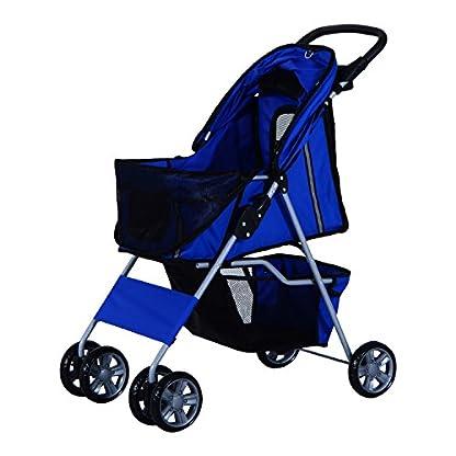 PawHut Pet 4 Wheels Travel Stroller Dog Cat Pushchair Trolley Puppy Jogger Folding Carrier (Blue) 8