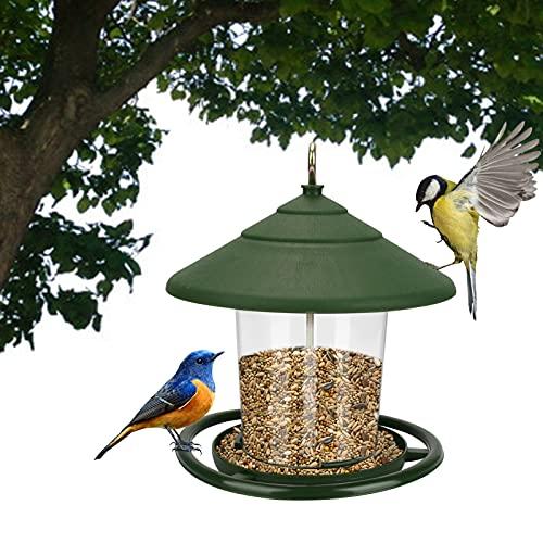 バードフィーダー 鳥餌入れ 給餌器 鳥の餌箱 鳥餌箱 鳥給餌器 吊下げ 屋根付き 防水 野鳥観察 野鳥の餌台 屋外 庭 田舎 設置簡単 庭用 鳥フィーダー 餌やり 鳥の休憩場 緑