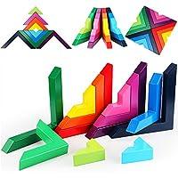 Lewo di Legno Arcobaleno Gioco impilabile Geometria Costruzioni Creativo annidamento Giocattoli educativi Bambini Piccoli #4