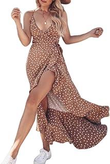 Women 's Spaghetti Strap V Neck Wrap Dress Vintage Polka PrintSplit Belted Flowy Boho Beach Long Dress