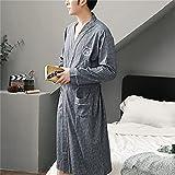 WALNUT Albornoz para Hombre Casual Suelto Otoño E Invierno Cálido Pijama De Manga Larga Albornoz Suave Vestido De Noche para El Hogar (Color : A, Size : 2XL Code)
