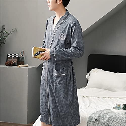Zcjux Albornoz Para Hombre Casual Suelto Otoño E Invierno Cálido Pijama De Manga Larga Albornoz Suave Vestido De Noche Para El Hogar (Color : A, Size : XL code)