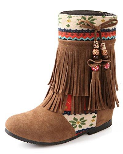Minetom Mujer Otoño Invierno Cuero Nobuck Calentar Botas De Flecos con Cuentas Zapatos Cargadores Cómodo Botines Amarillo EU 38