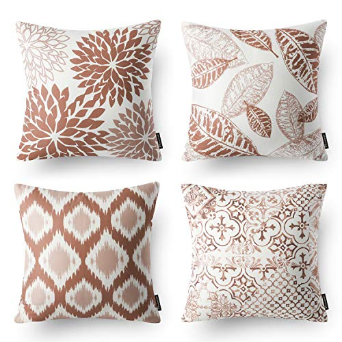 Phantoscope Set of 4 New Living Series Decorative Caramel Throw Pillow Case Cushion Cover 18 x 18 inches 45 x 45 cm