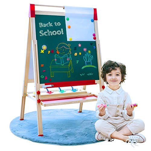 Easel for Kids Double Sided Magnetic Whiteboard and Chalkboard Adjustable Standing Easel with Paper Roll MultipleUse Easel with Bonus Kids Art Supplies for Boys Girls