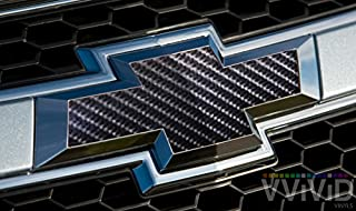 VVIVID TechArt Black Carbon Fiber Auto Emblem Vinyl Wrap Overlay Cut-Your-Own Decal For Chevy Bowtie Grill, Rear Logo Diy Easy To Install 11.80 Inches x 4 Inches Sheets (x2)