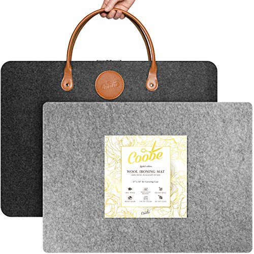"""17"""" X 24"""" Wool Pressing Mat for Quilting with Carrying Case - Perfect for Classes, Meetings and Travel - 100% New Zealand Wool Felted Ironing Pad"""