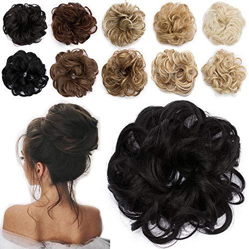 TESS Haarteil Dutt Schwarz Haargummi mit Haaren Gewellt Kleine Haarknoten Hochsteckfrisuren günstig Haarverlängerung Extensions für Frauen 30g