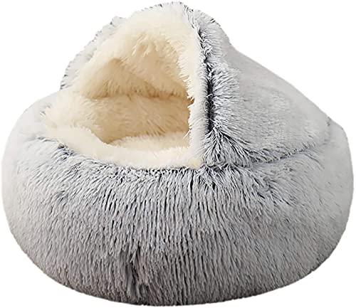 2021 Cueva de Cama de Gato más Nueva, Casa de Cama de Donut de Felpa con Capucha de 50 cm, Sofá de cojín para Mascotas de Piel sintética para abrazar