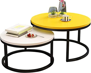 Coffee Tables Round Side Tables Modern End Tables Nesting Tables for Balcony and Living Room, Extendable Stackable, Wood and Metal, Yellow and White