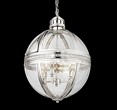"""19Th C. Victorian Globe Pendant Chandelier Polished Nickel Dia 17.5"""" H 25.5"""" Gorgeous Light Fixture (Brushed Nickel)"""