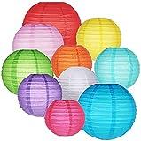 """16 faroles de papel coloridos para colgar en globos y decoración para cumpleaños, bodas, baby shower, decoración del hogar, suministros para fiestas de techo (4"""", 6"""", 8"""", 10"""")"""
